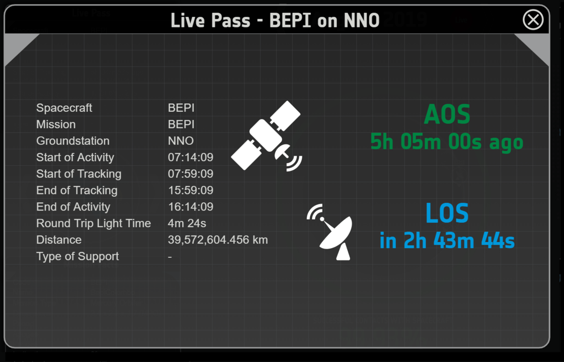 Example of an expanded Live Pass information box showing details such as how long a signal would take on a round trip, and time until loss of signal (LOS)
