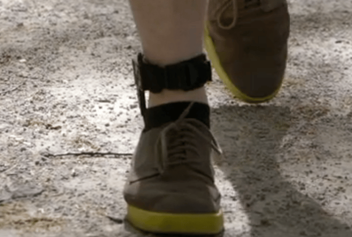 Wearing SolePower with the ankle strap