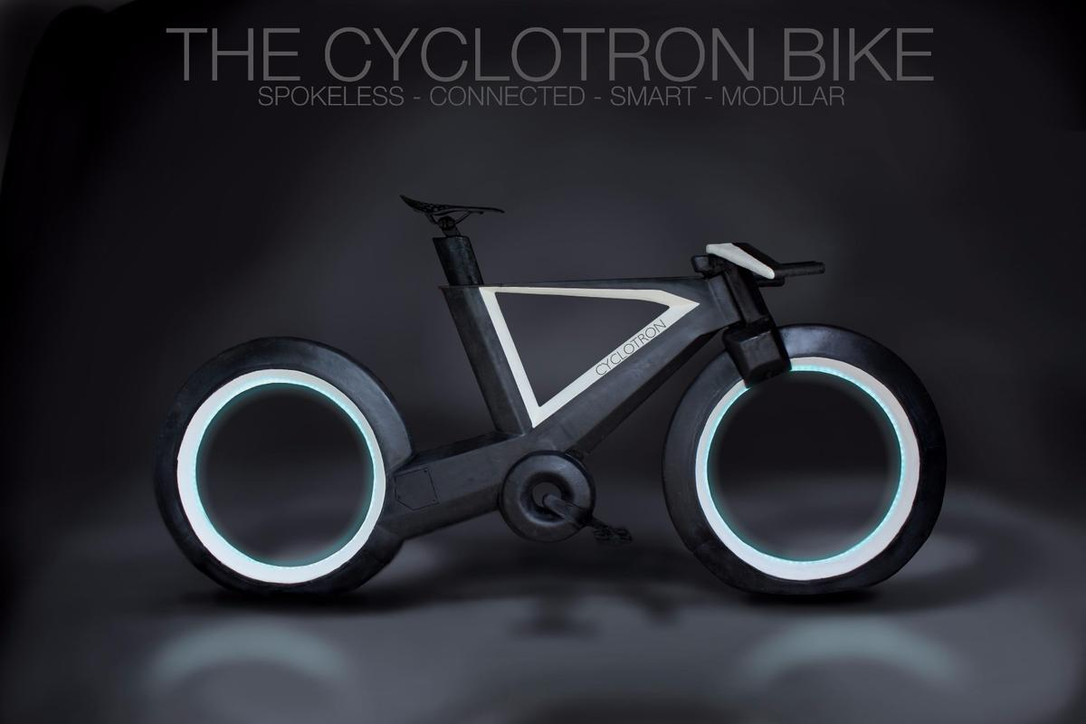The Cyclotron features spokeless wheels with Tron-like lighting