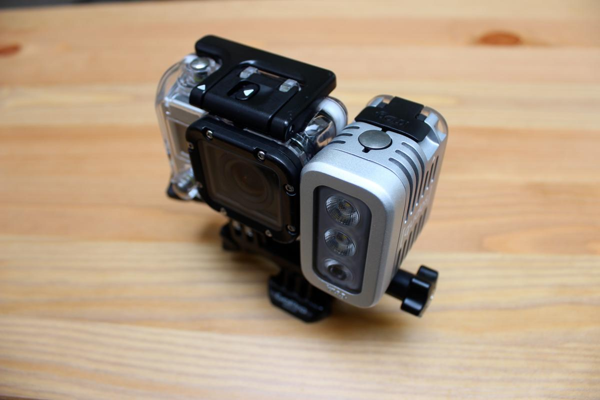 The Qudos Action light, mounted alongside a GoPro Hero 3 White edition camera