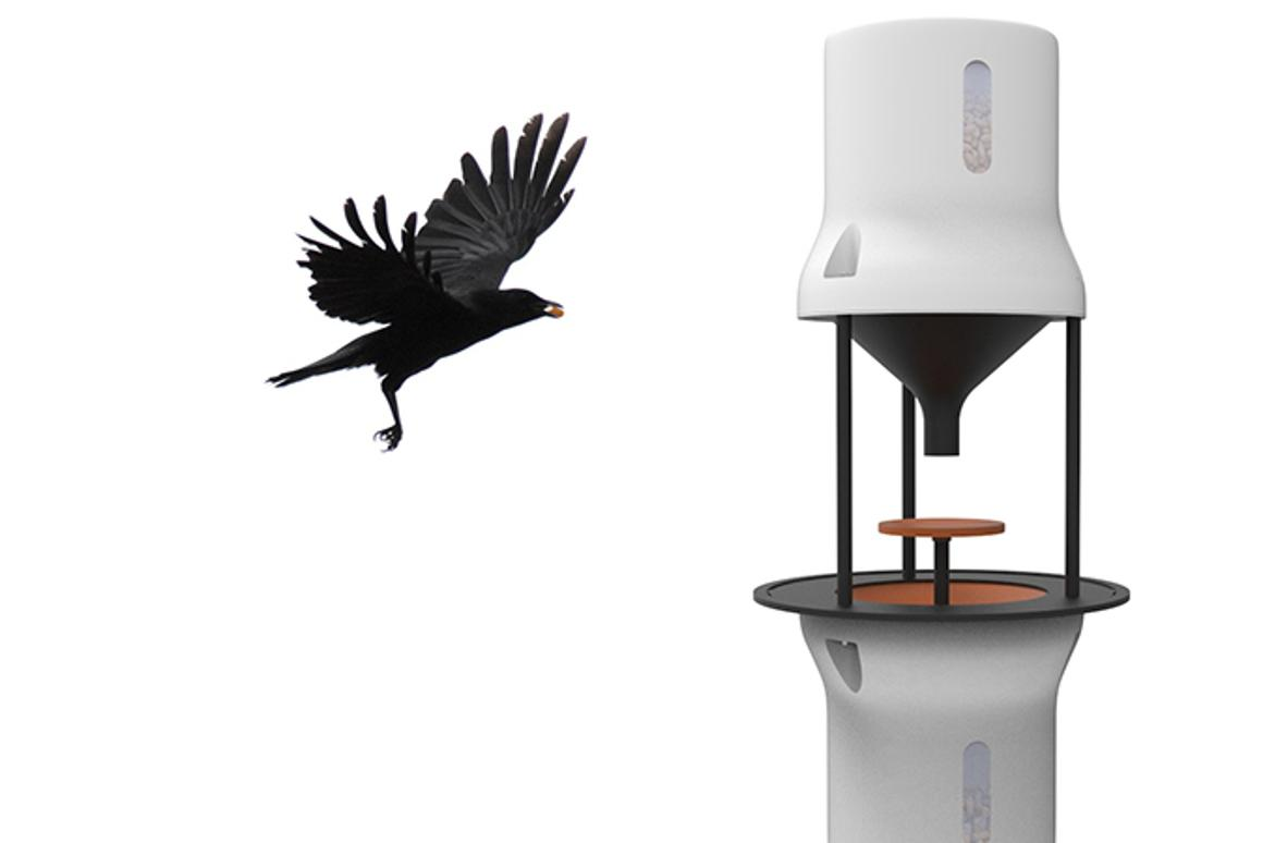 Dutch startup Crowded Cities is developing a device called a Crowbar, which it hopes will teach crows to collect cigarette butts