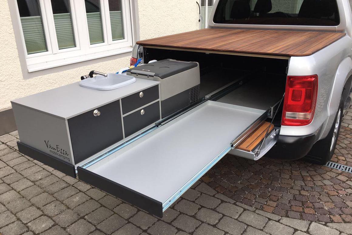 VanEssa slide-out kitchen turns the Volkswagen Amarok into a