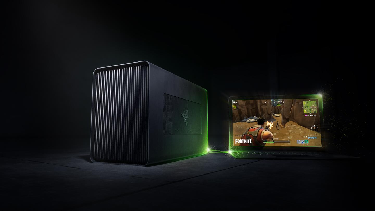 The Razer Core X is an external graphics enclosure that has room for up to three graphics cards, to boost the power of a connected laptop or PC