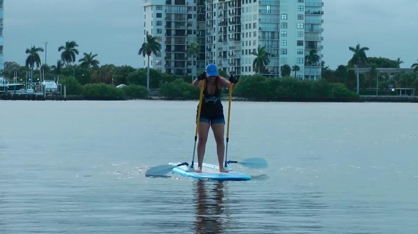 The Supski is designed to be installed on an existing board, and reportedly should work with standard modular paddles