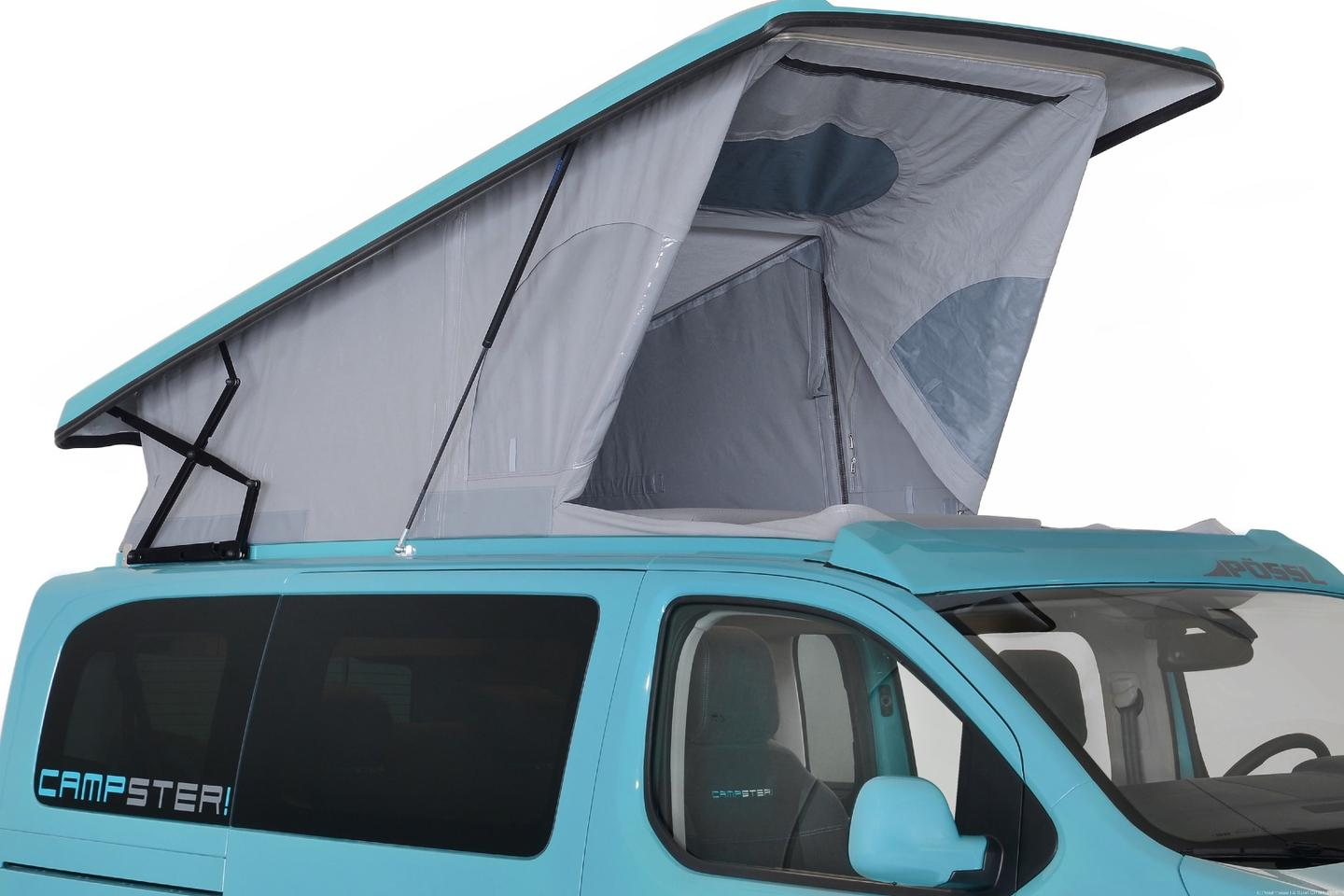 The Campster's pop-up roof comes with a mattress standard