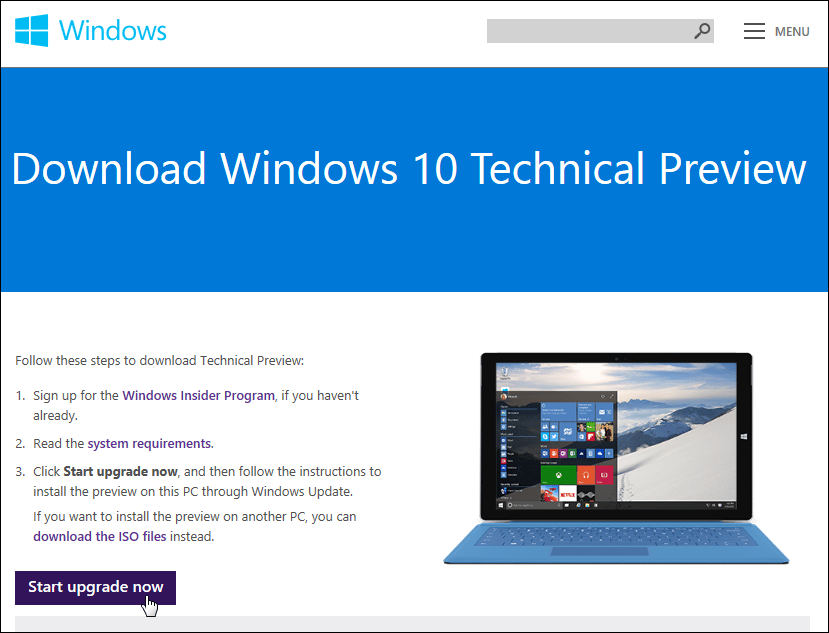 How to upgrade Windows 7 to Windows 10 tech preview via
