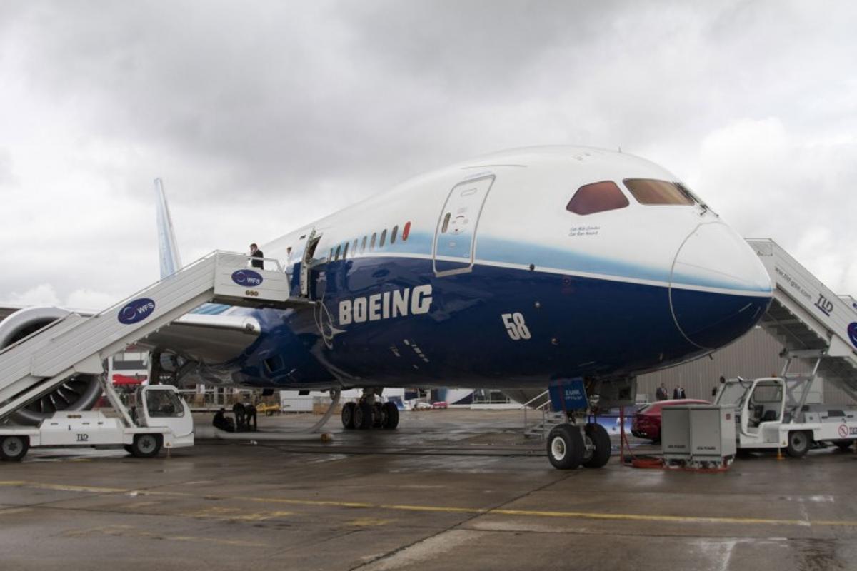 The Boeing 787 Dreamliner on display in Paris