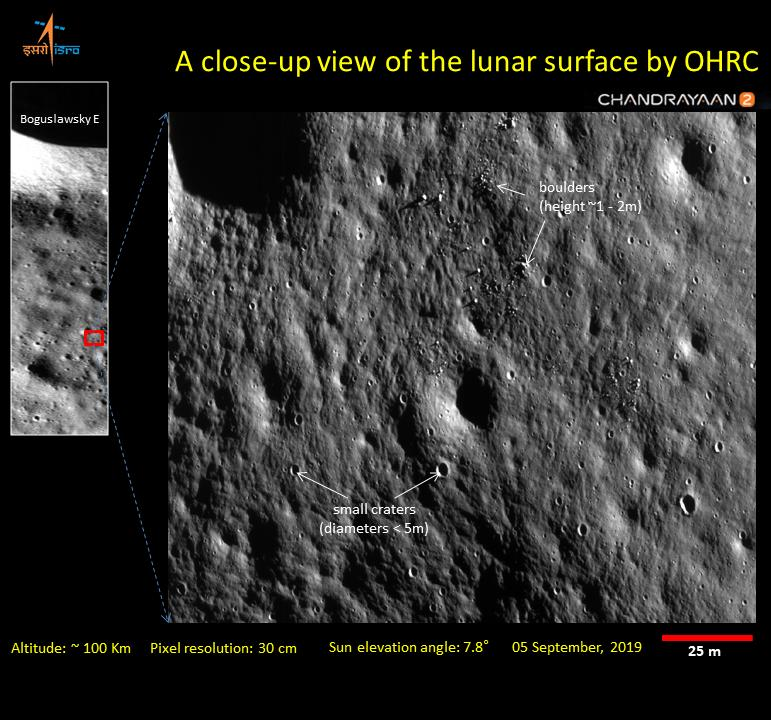 Image of the lunar surface taken from the ISRO's Chandrayaan-2 spacecraft