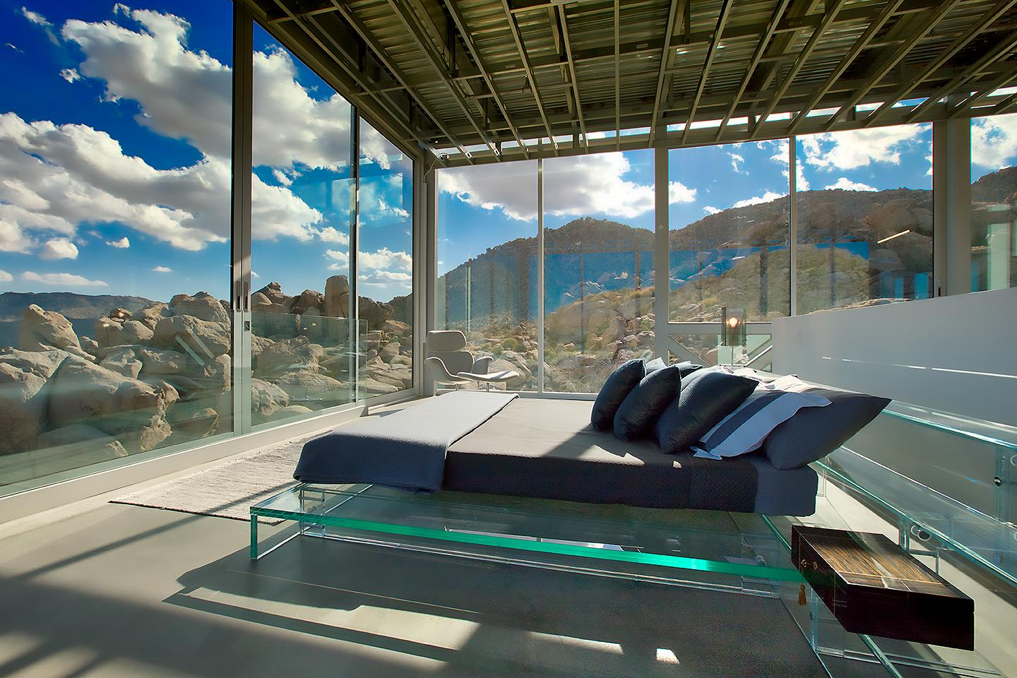 The Invisible House's bedrooms allow visitors to wake up to views of the desert