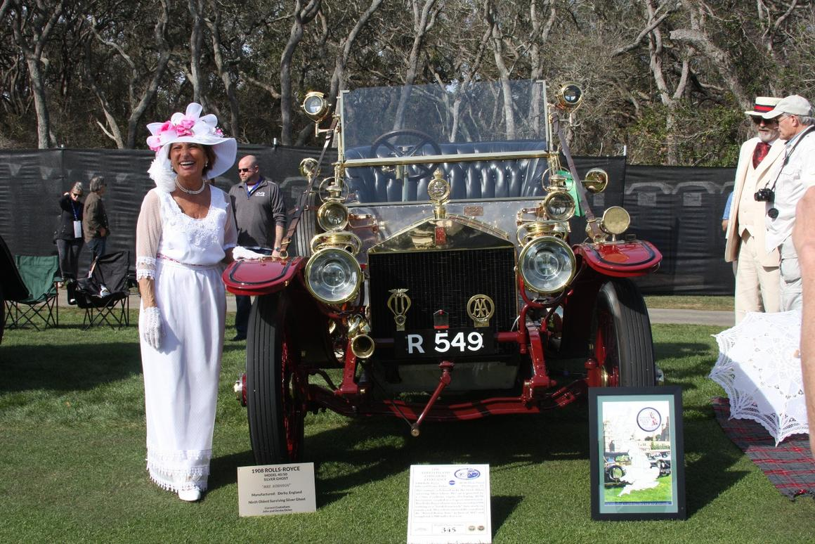 """Having too much fun, Denise Dolan and the ninth oldest extant Silver Ghost, a 1908 model that was discovered in 1958 still working as a tow truck in a junk yard. The car has now been restored and completed the """"Round Britain Tour"""" in June 2017, clocking up 2,900 road miles last year. The Round Britain Tourwas created in celebration of the 110th Anniversary of the achievements of the original Silver Ghost AX201 in the Scottish Trails and Endurance Run."""