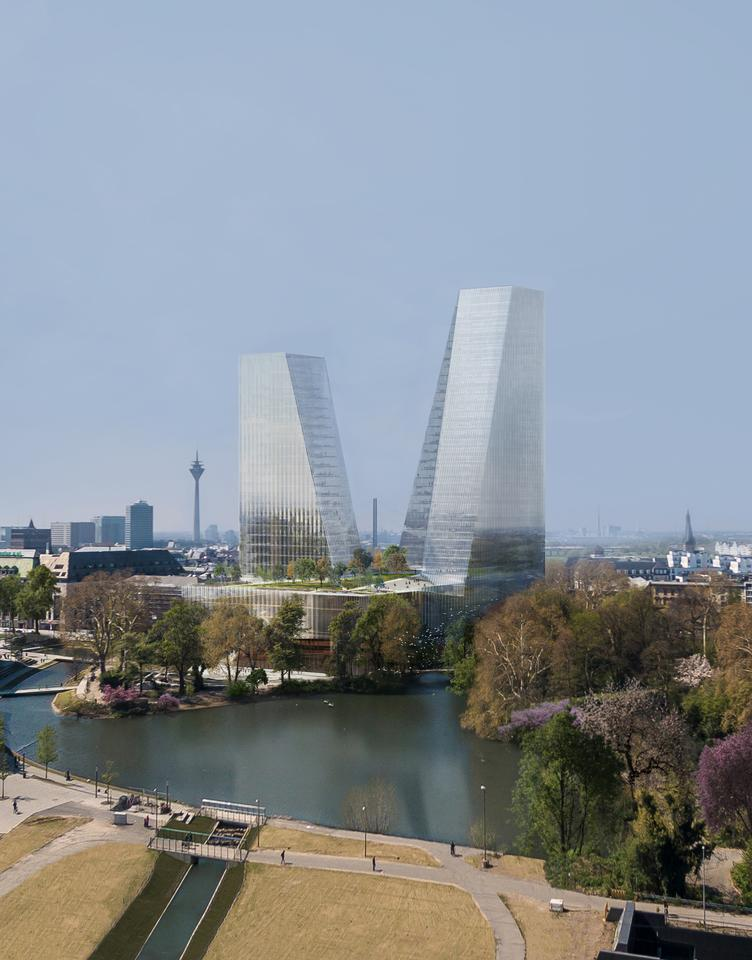 """Duett Düsseldorf will be defined by two """"dancing"""" towers that are designed to minimize shade in the nearby surroundings"""