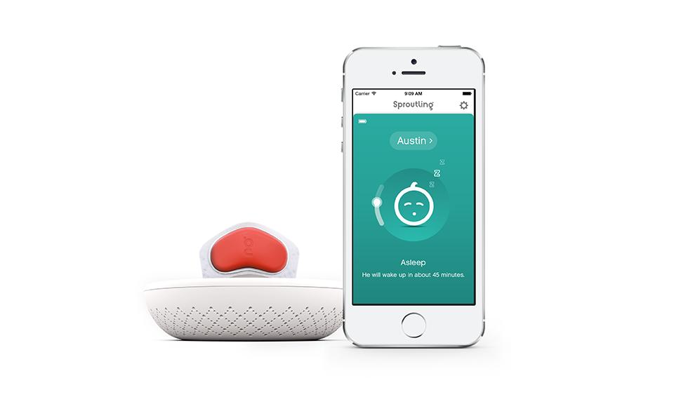 The Sproutling band, wireless charger and room monitor, and smart phone app work together to turn data into useful information