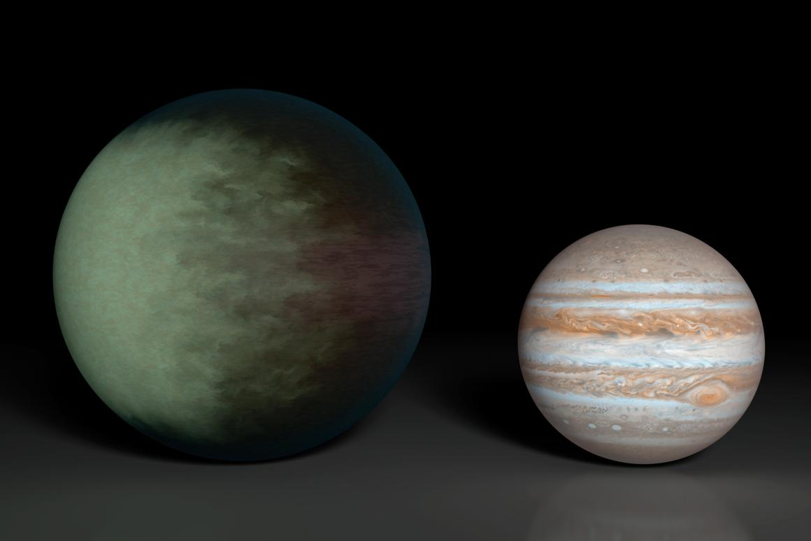 Comparison of Kepler-7b and Jupiter (Image: NASA)