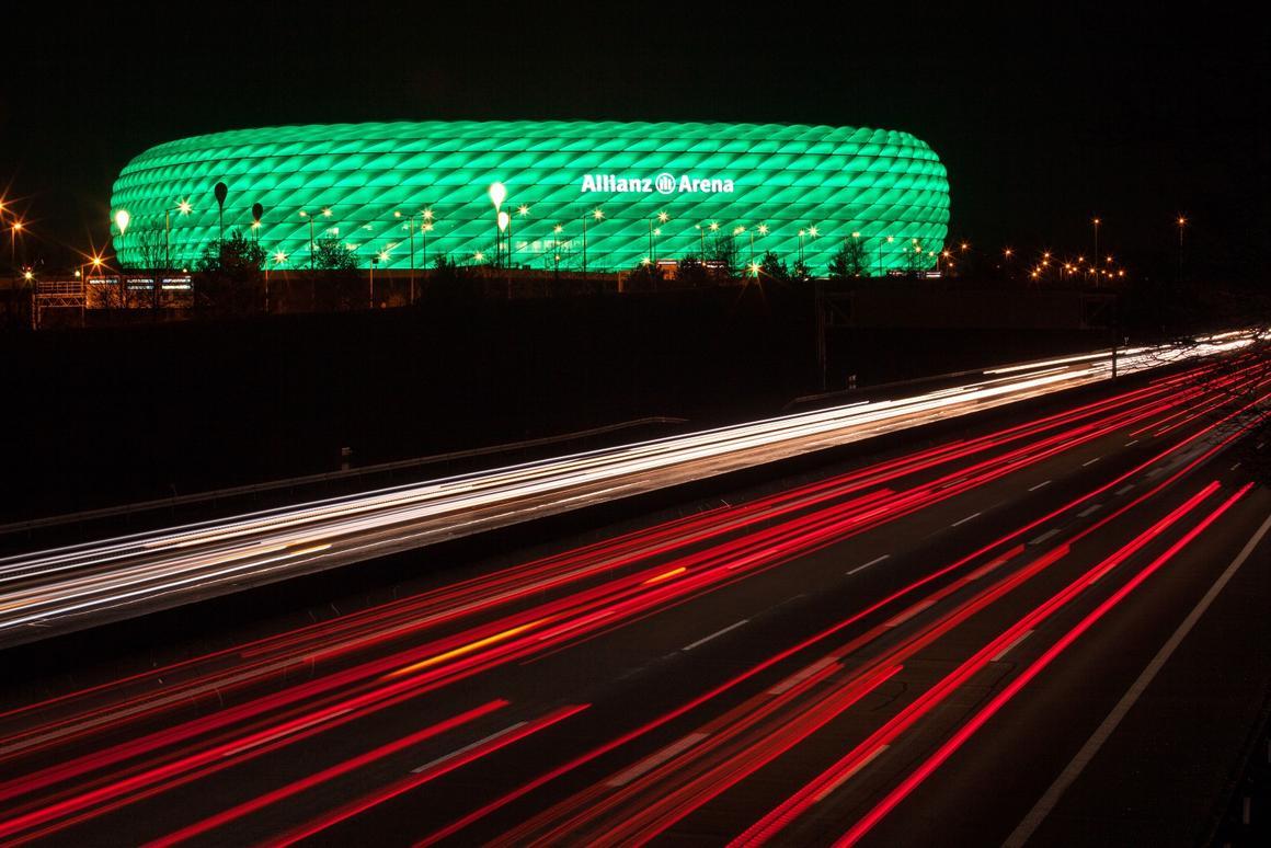 The LED façade can produce 16 million colors