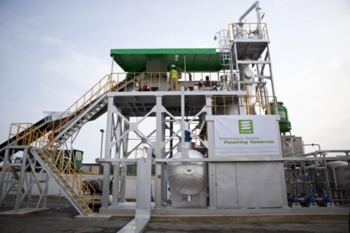 The Envion Oil Generator, a new technology that converts plastic waste into oil, at the Montgomery County Waste Transfer Station