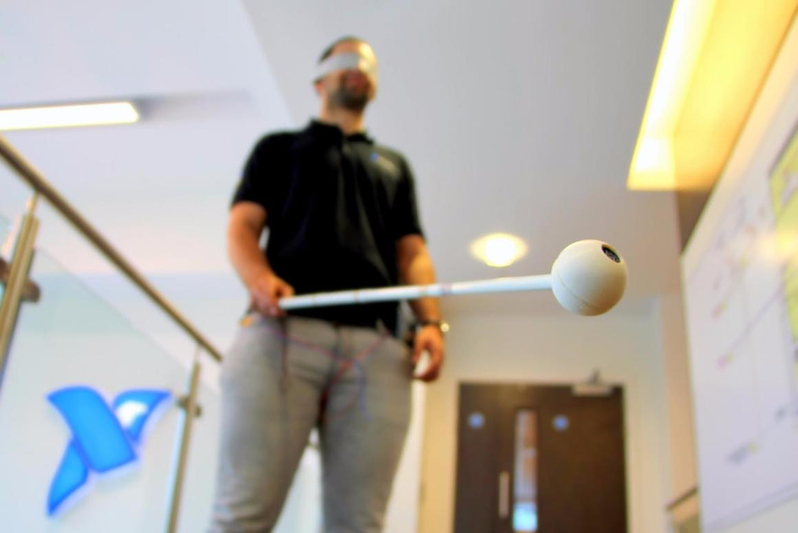 The cane uses parking sensor tech to help the user avoid obstacles