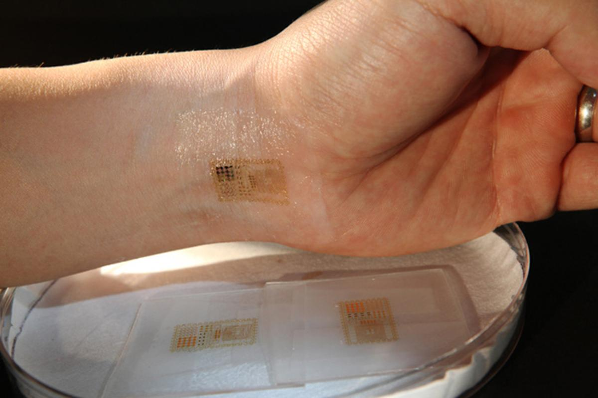 An ultrathin, electronic patch with the mechanics of skin, applied to the wrist for EMG and other measurements (Image: John Rogers)