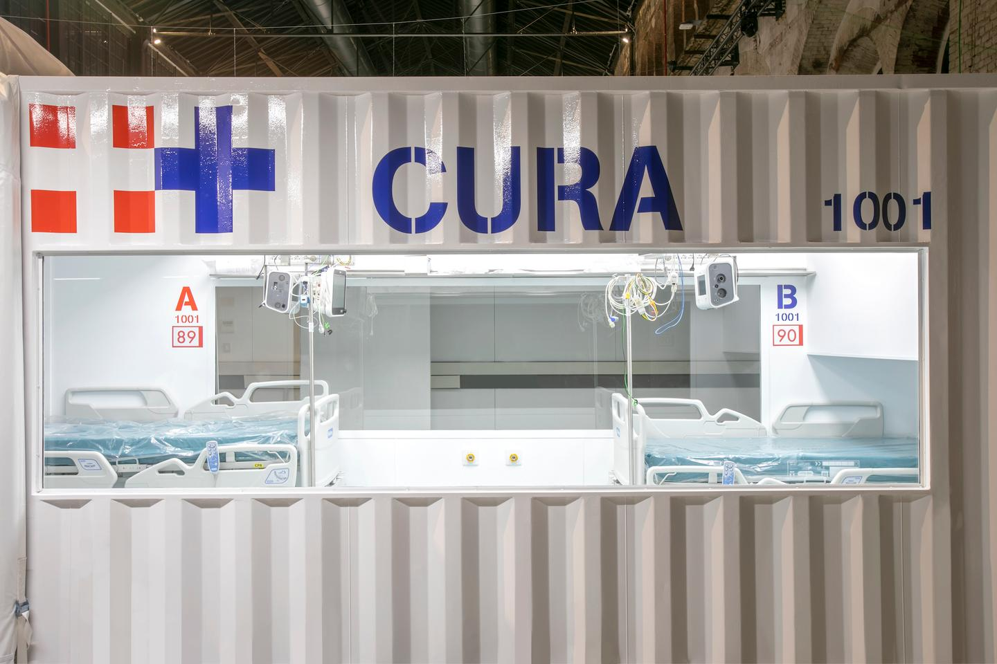 CURA is built from a standard container, so measures 20 ft (6.1 m) in length and is fitted with two glass windows