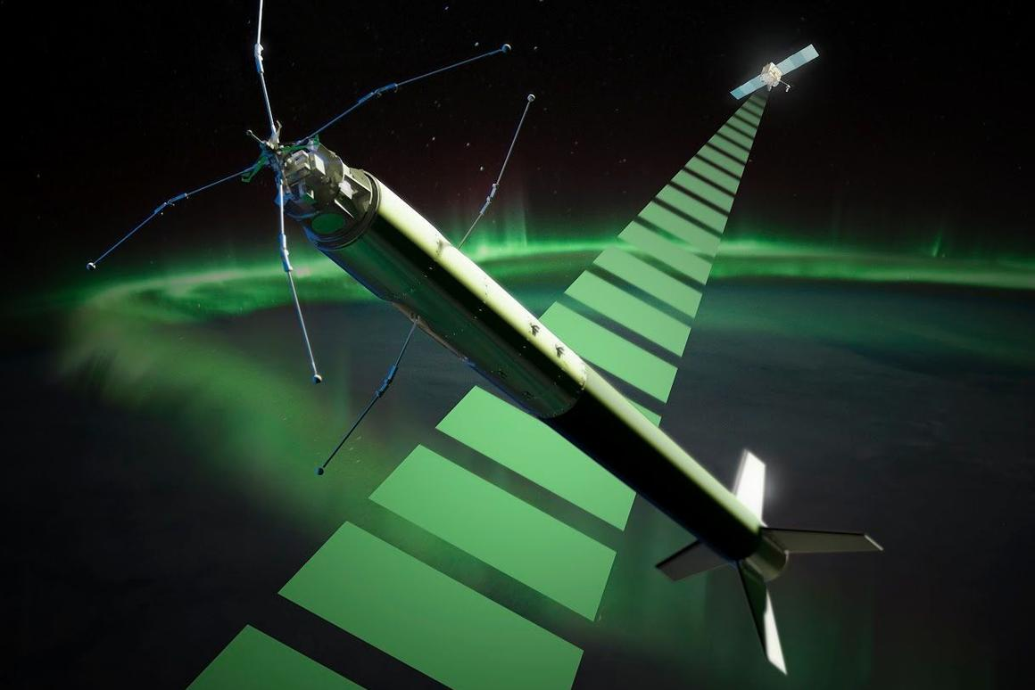 Artist's depiction of the ICI-4 rocket which launched today (Image: Trond Abrahamsen, Andøya Space Center)