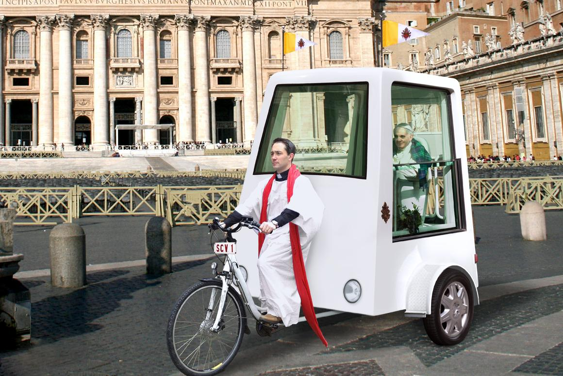 The pedal-powered Popemobile concept from Yannick Read of the ETA