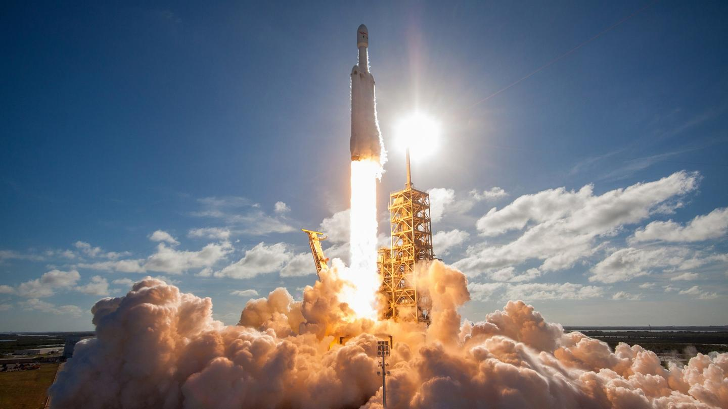 Falcon Heavy lifts off during an earlier mission