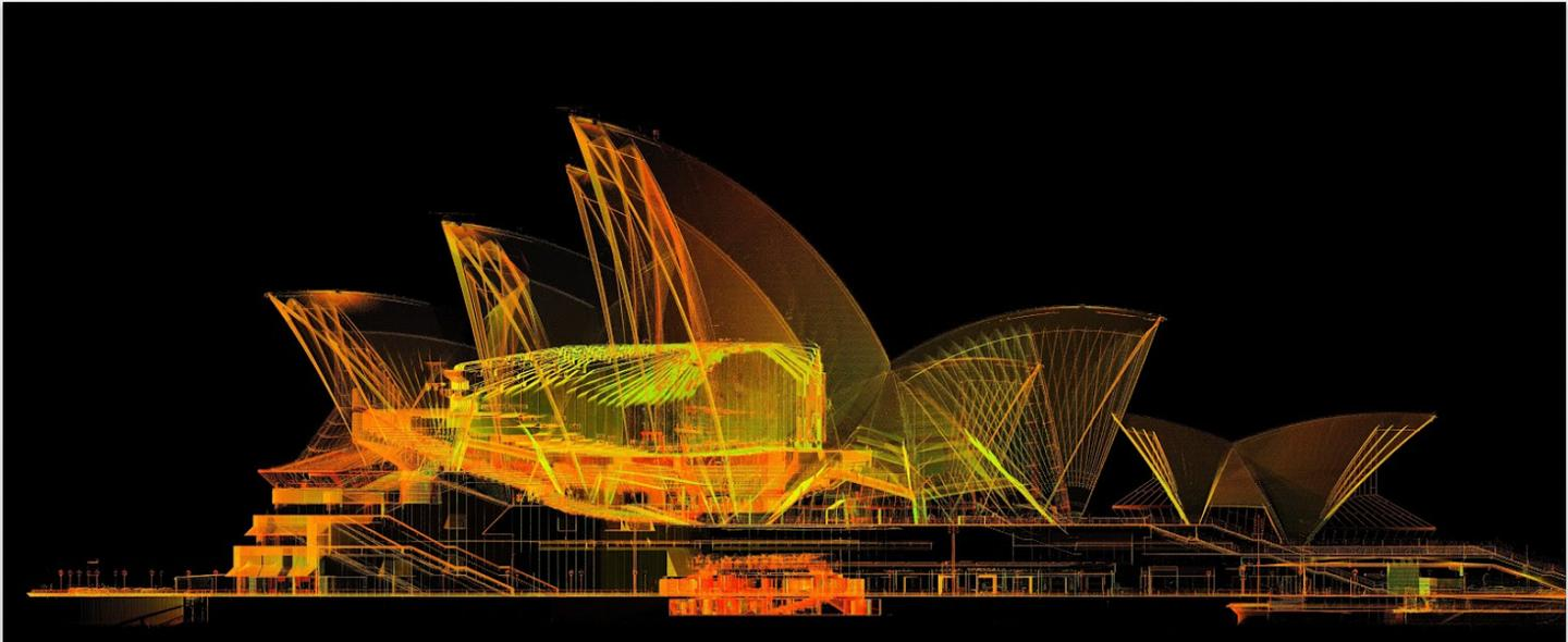 A schematic of the Sydney Opera House on the Google Cultural Institute
