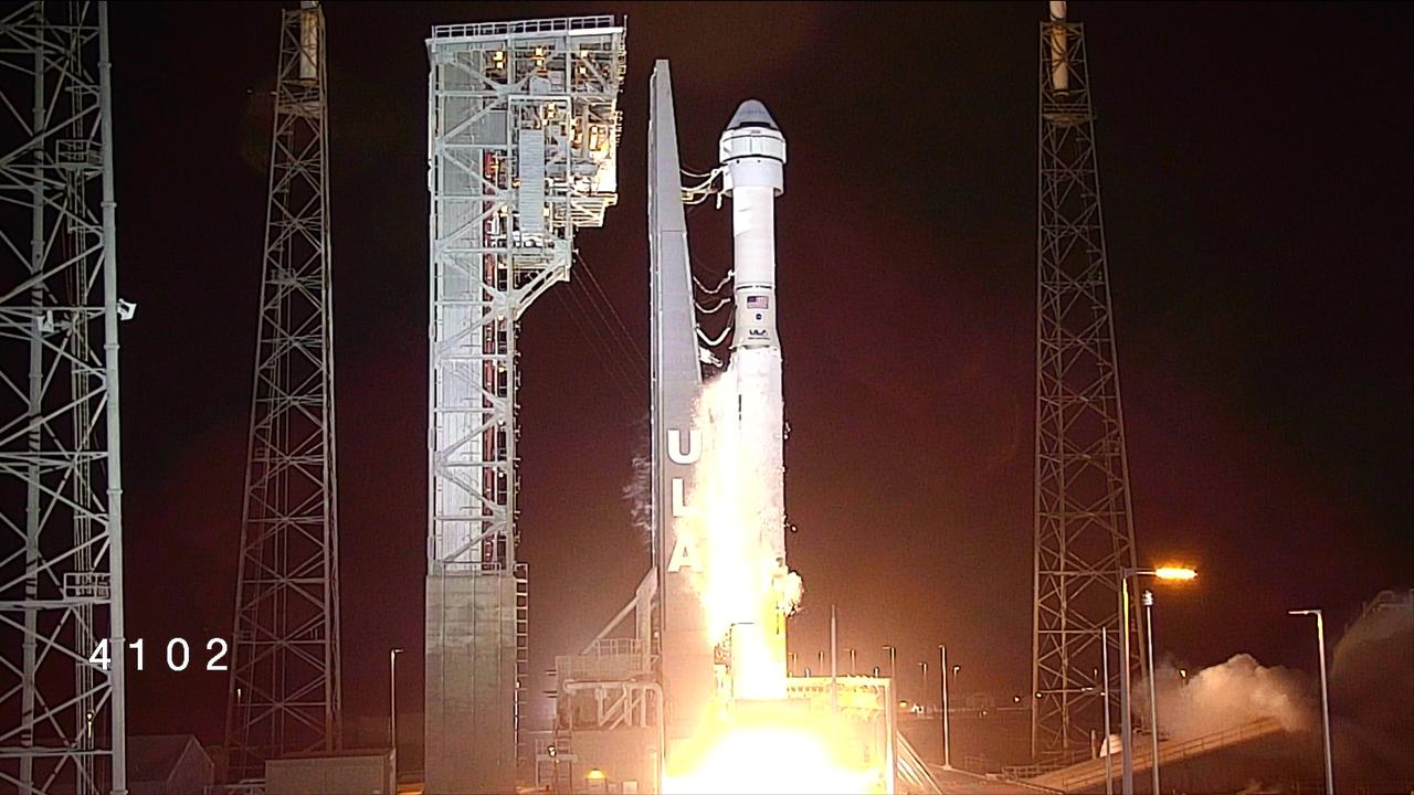 The United Launch Alliance Atlas V rocket with Boeing's CST-100 Starliner spacecraft atop lifts off from Space Launch Complex 41 at Cape Canaveral Air Force Station in Florida