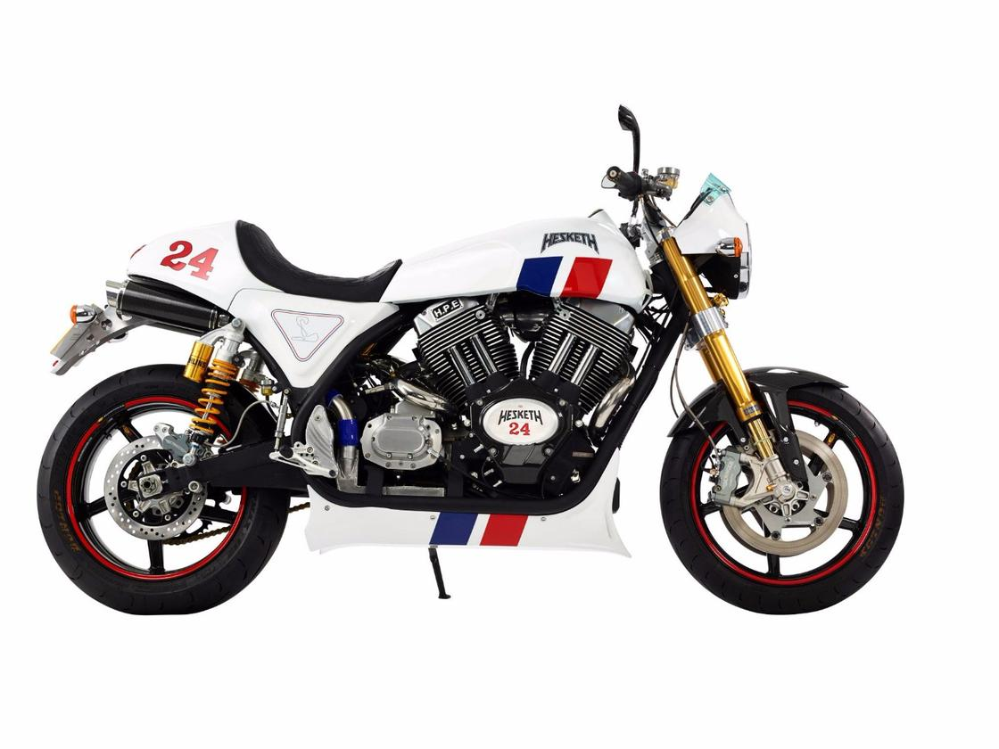 The 24 was the motorcycle that brought Hesketh back to life in 2014, inspired by James Hunt's 1975F1 racerand produced in a very limited production run ofonly 24 examples