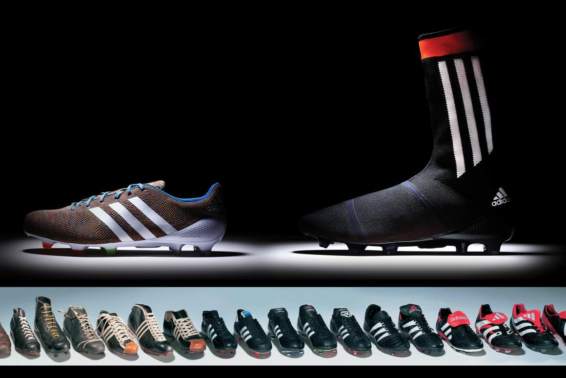 The EUR 300 Samba PrimeKnit (top left) will be released on Monday, March 17, 2014. No price or release date has yet been set for the all-in-one boot/sock hybrid Adidas PrimeKnit FS (top right), but it will go on sale during 2014. The inset is a pictorial history of Adidas' most important football boot releases over the last 50 years.