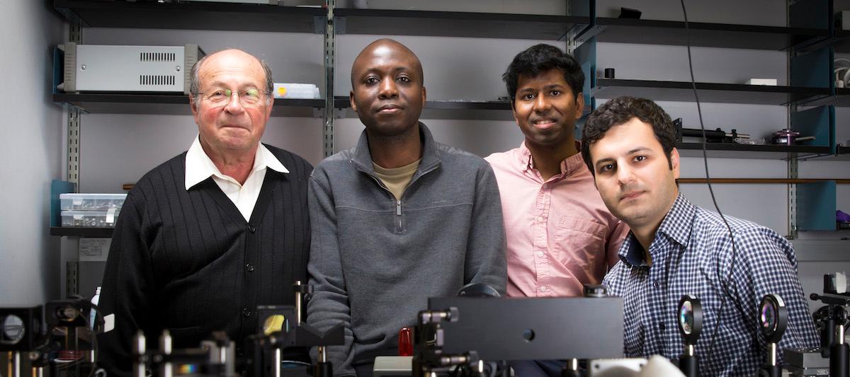 The researchers responsible for the BIClaser: from left,Yeshaiahu Fainman, Boubacar Kanté, Ashok Kodigala and Babak Bahari