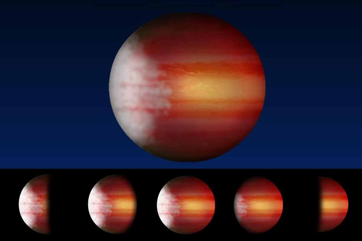An artist's rendering of an exoplanet that exhibits a typical weather pattern of cloudy mornings and clear, scorching afternoons