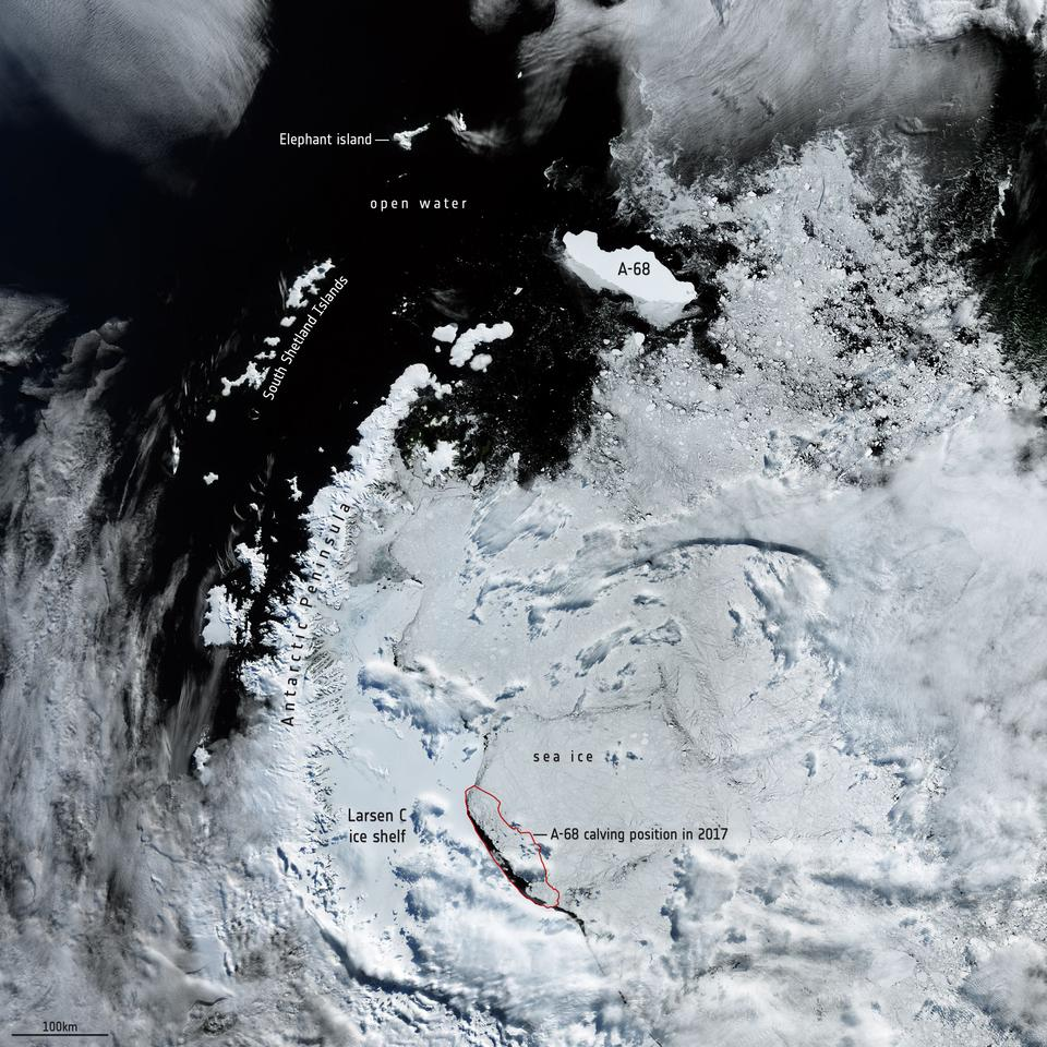 A satellite image showing the location of iceberg A-68A as of February 2020