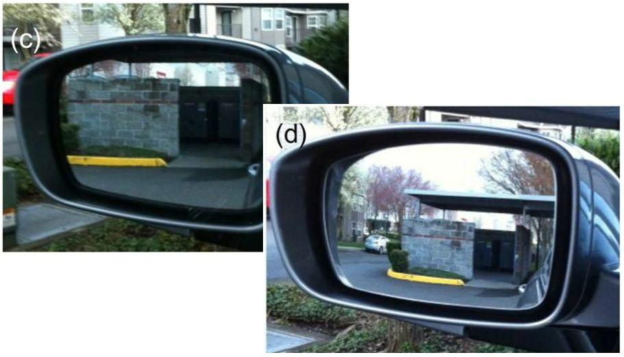A conventional flat mirror (left) and the progressive mirror