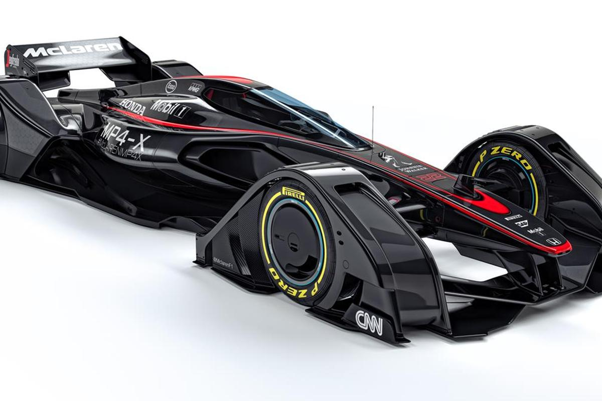 The McLaren MPX-4 concept race car gives one potential vision for the future of Formula One