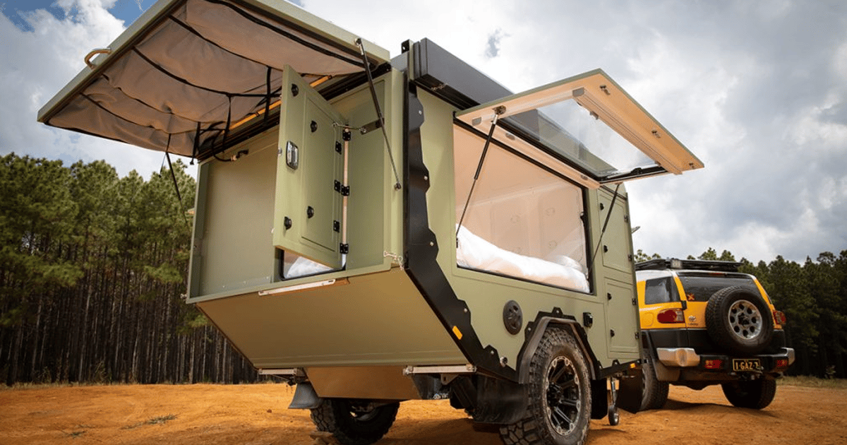 "Towable bunker is how Aussies do a ""basic"" adventure camper trailer"