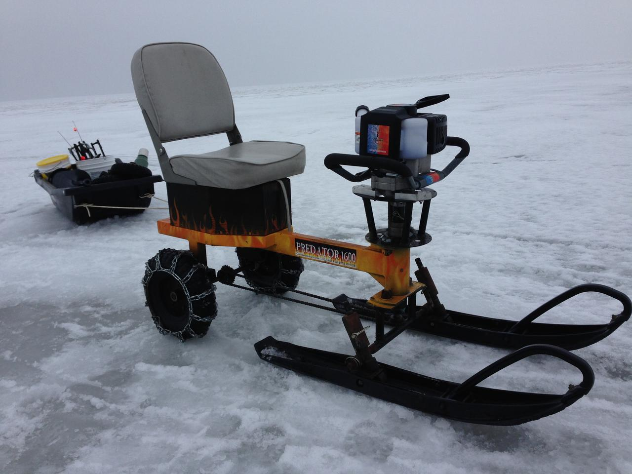 The Ice Auger Machine, set up with snowmobile skis