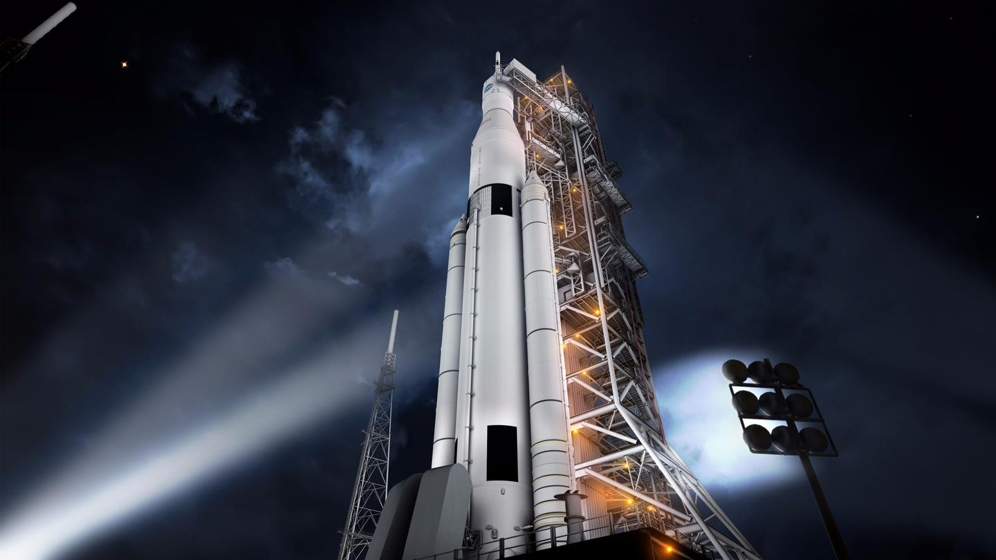 Artists impression of the SLS on the launchpad