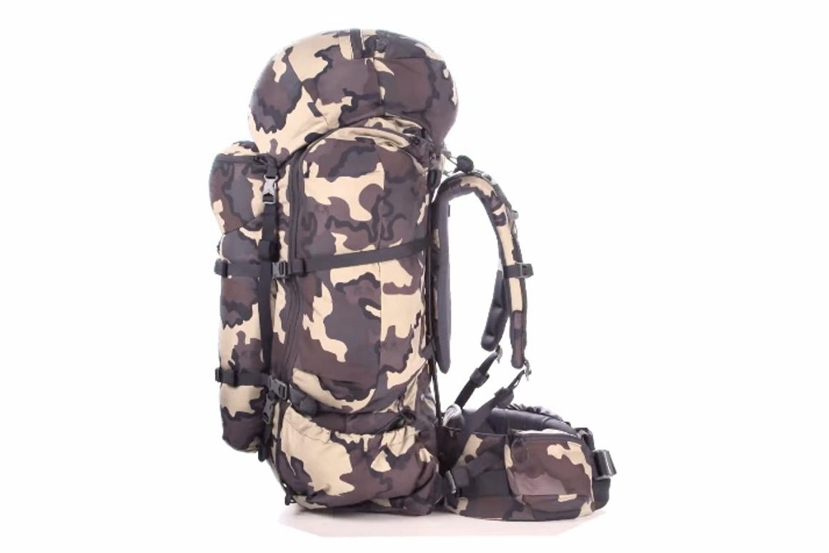 The Kuiu backpack system features a base frame that can be fitted with different-sized packs