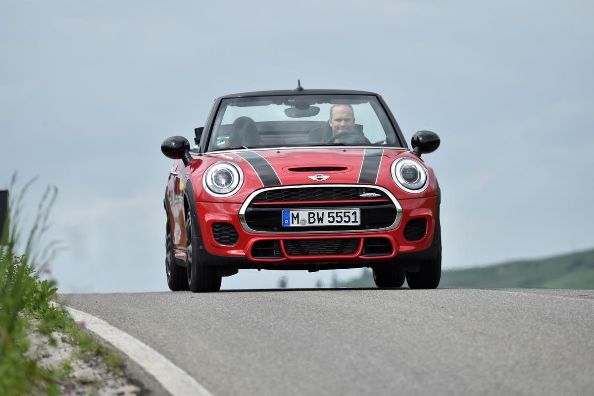 Bigger air intakes feed air into the more powerful engine on the Mini JCW Convertible