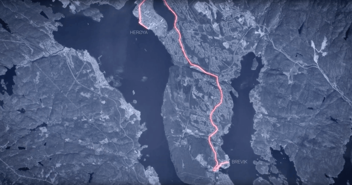 This is the current road pathway Yara uses – the shipping route could replace 40,000 truck trips per year