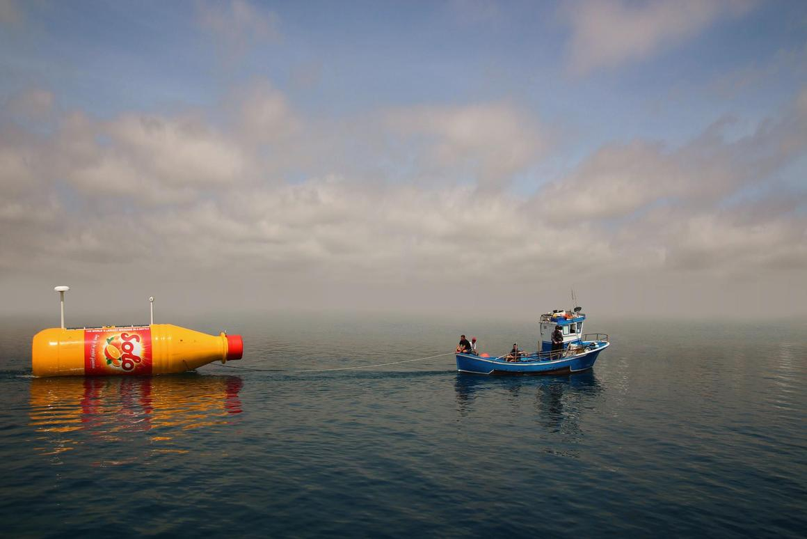Solo, a soft drink company based in Norway, recently built an 8-meter (26-foot) tall replica soda bottle outfitted with solar panels, a camera, and tracking technology and set it adrift in the ocean