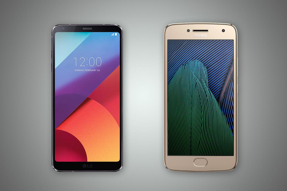 New Atlas compares the features and specs of the LGG6 (left) and Motorola Moto G5 Plus