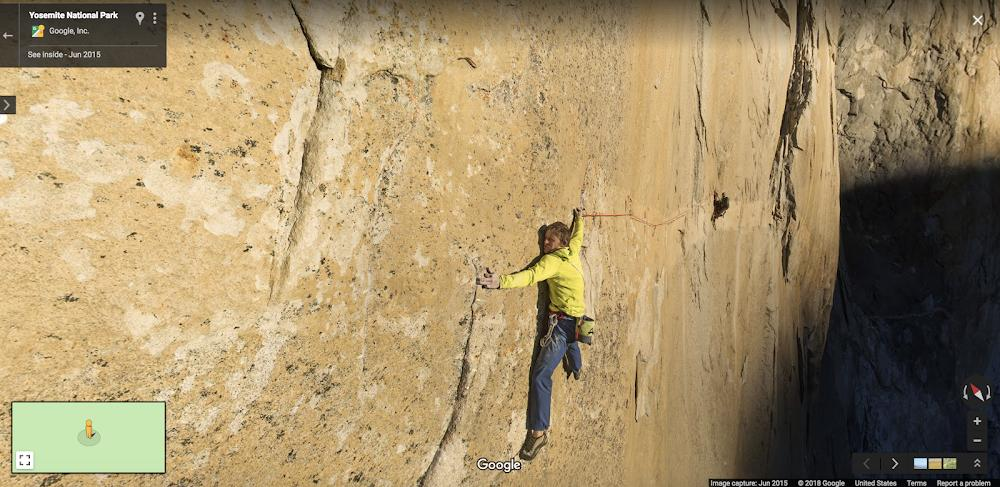 A photographer the Street View Trekker captured during a cliff climb in Yosemite