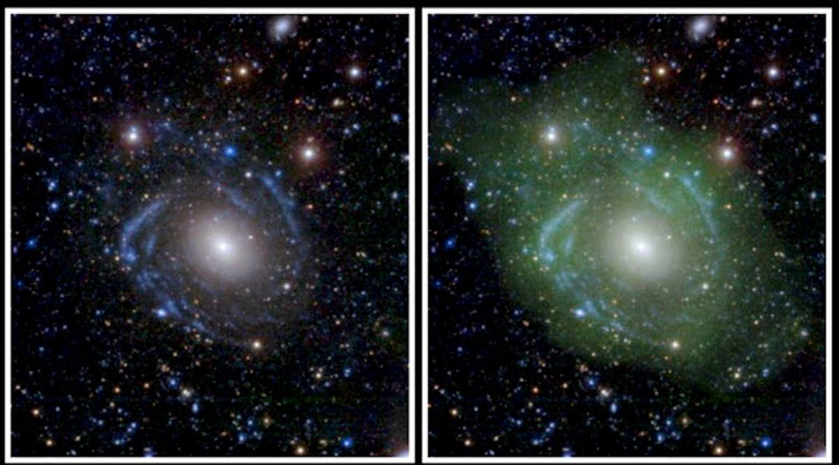 Astronomers observed spiral arms and low-density hydrogen gas surrounding the galaxy known as UGC1382