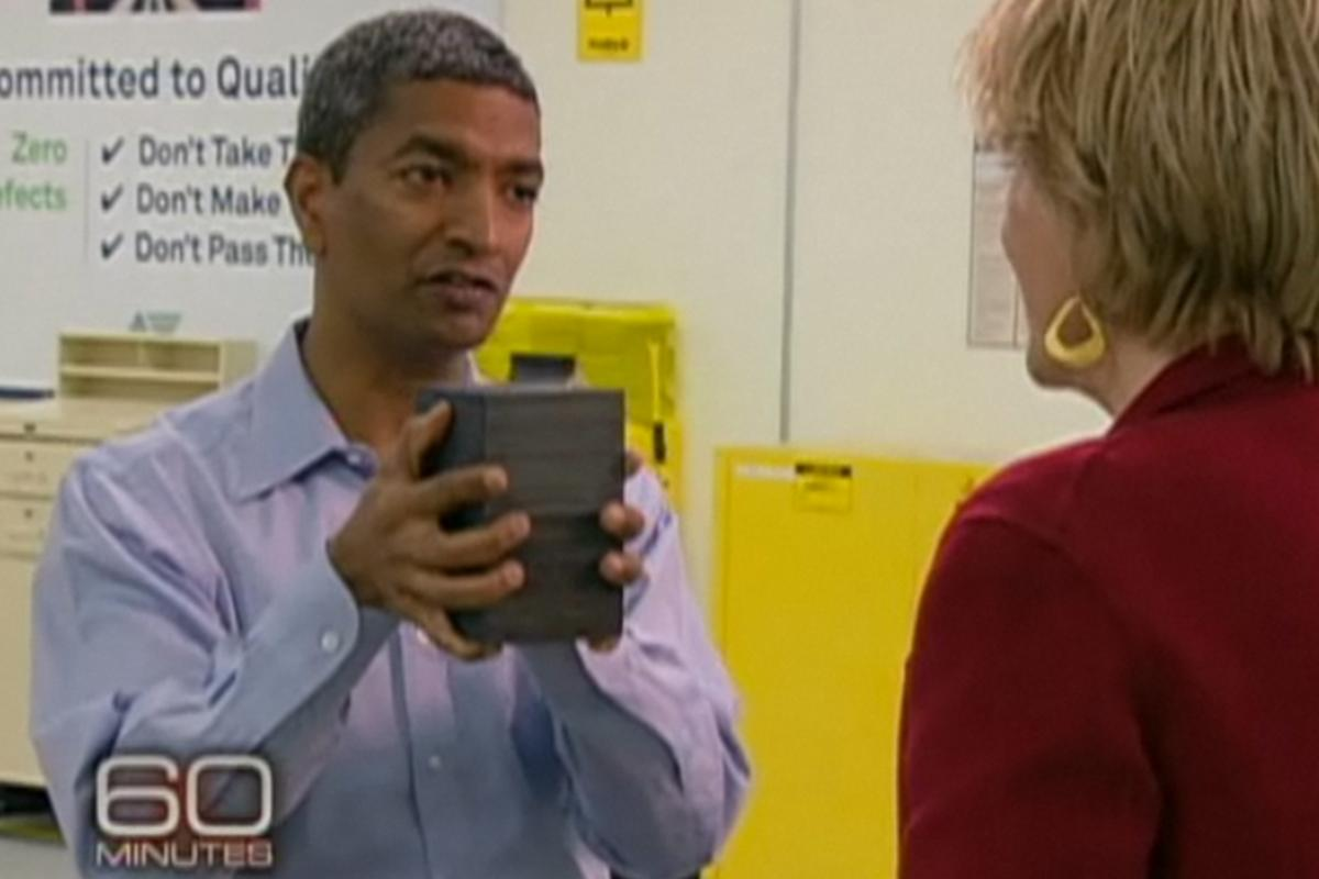 Bloom Energy founder, K.R. Sridhar, and the fuel cell that forms the heart of the Bloom Box