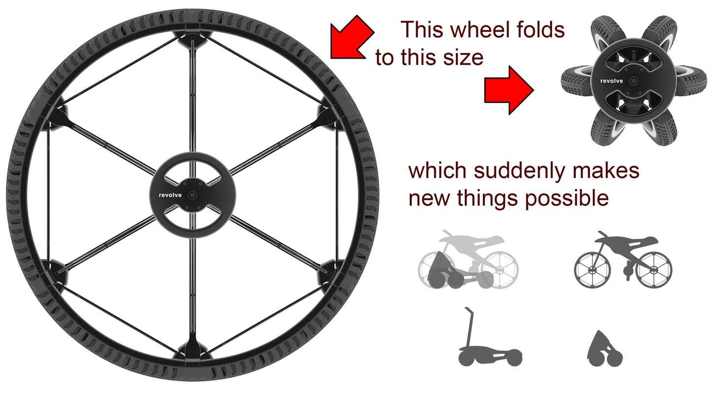 """I didn't design a wheel for single bicycle, but a wheel for many different products that can have the same full-sized bicycle wheel, but can now be folded and reduced in size in many different ways"" Andrea  Mocellin, founder of Revolve Wheel."