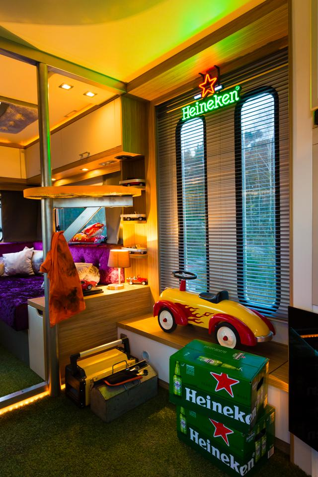 The interior of the Mannen Caravan is like a toy store for the adult man