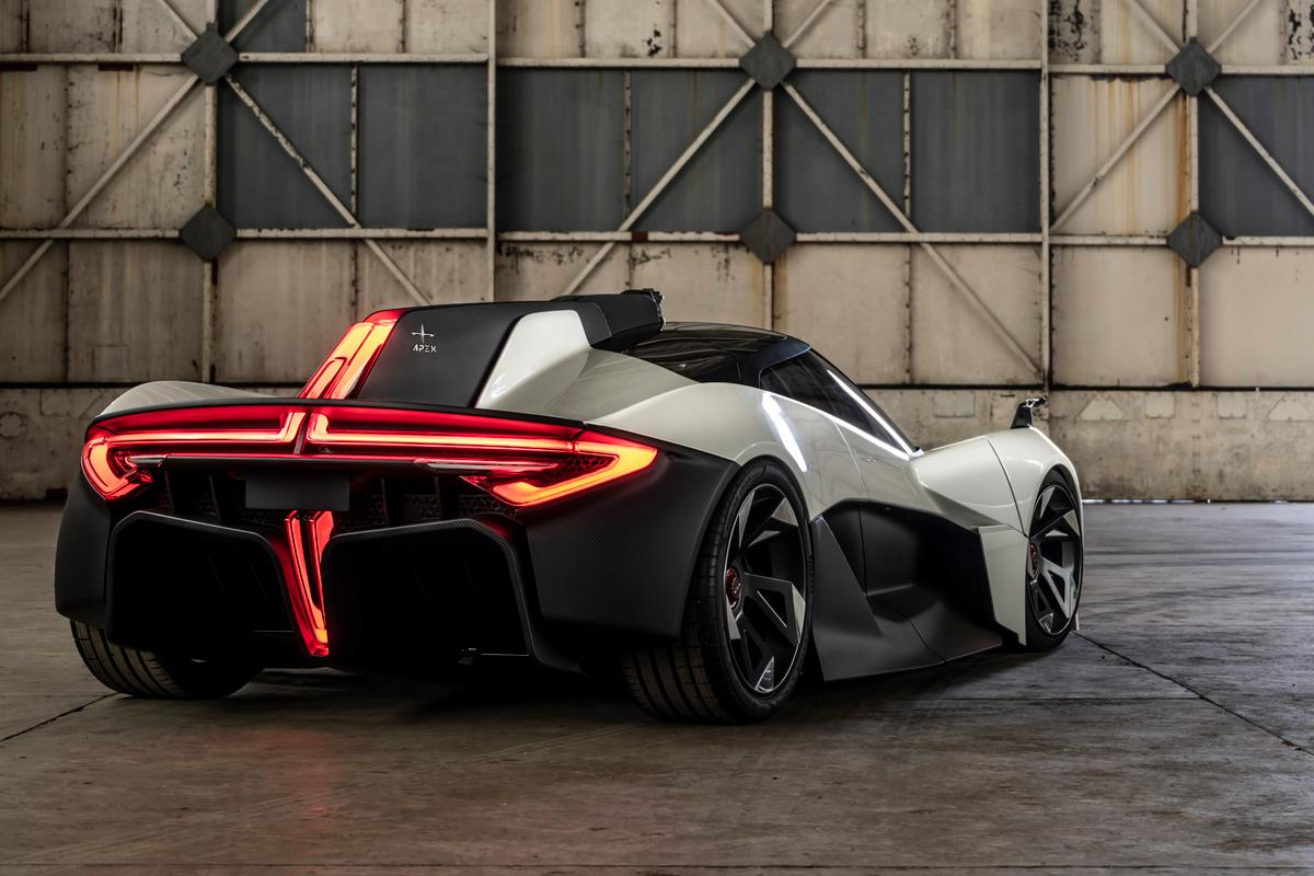 The dramatic rear end of the Apex AP-0, a futuristic, fast and long-range electric sports car from the UK