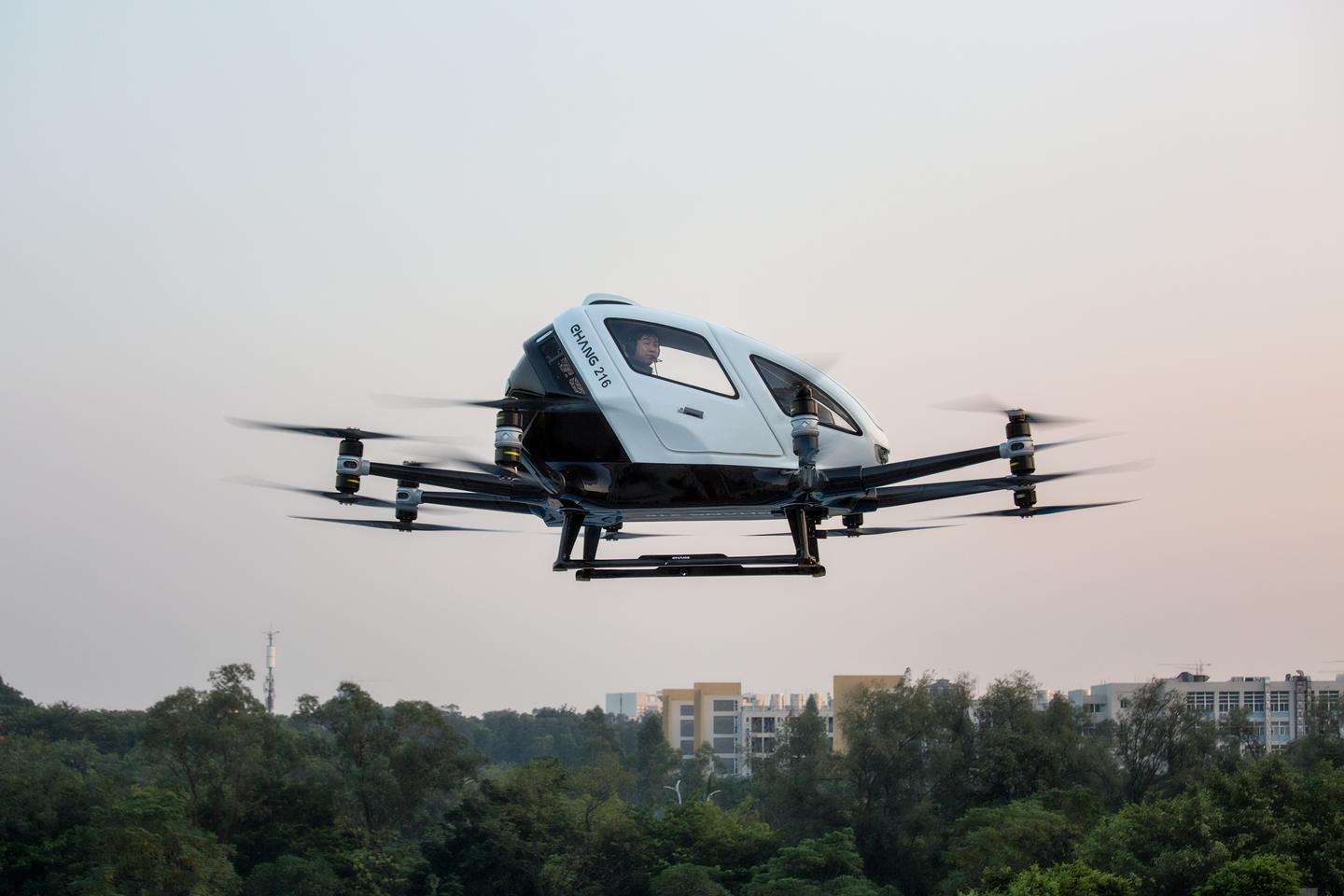 Ehang flounder Hu Huazhi goes for a ride in the 216 autonomous air taxi