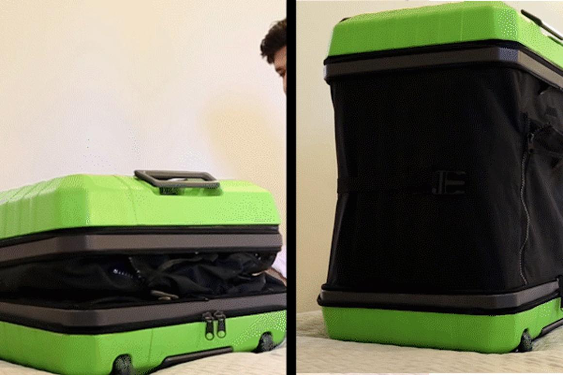 Fugu Luggage goes from carry-on to check-in size thanks to its inflatable side walls